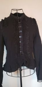 Mercer & Madison black lace ruffle button down top